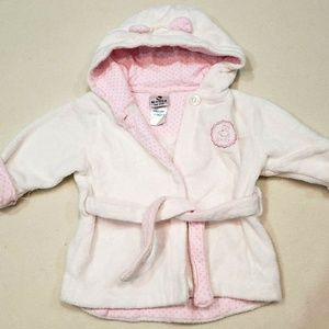 Absorba Baby Girl White Pink Hooded Robe Size O/S